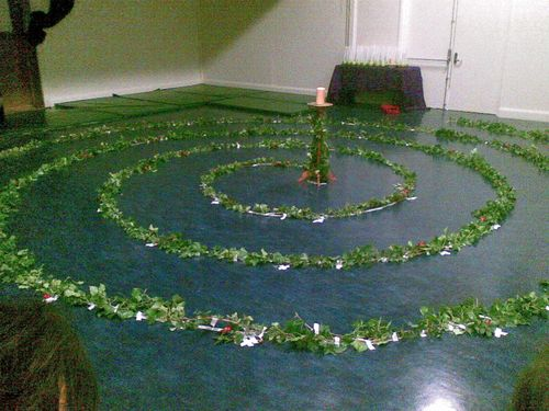 spiral of ivy on blue floor