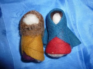 Mary and Joseph hand made wool figurines