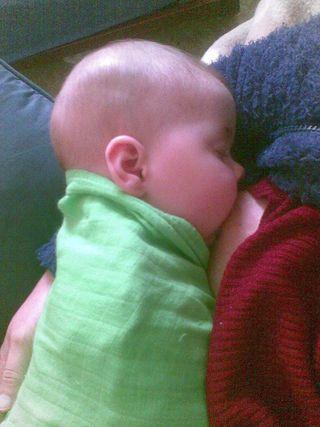 Elli, sleeping while nursing, 7 months
